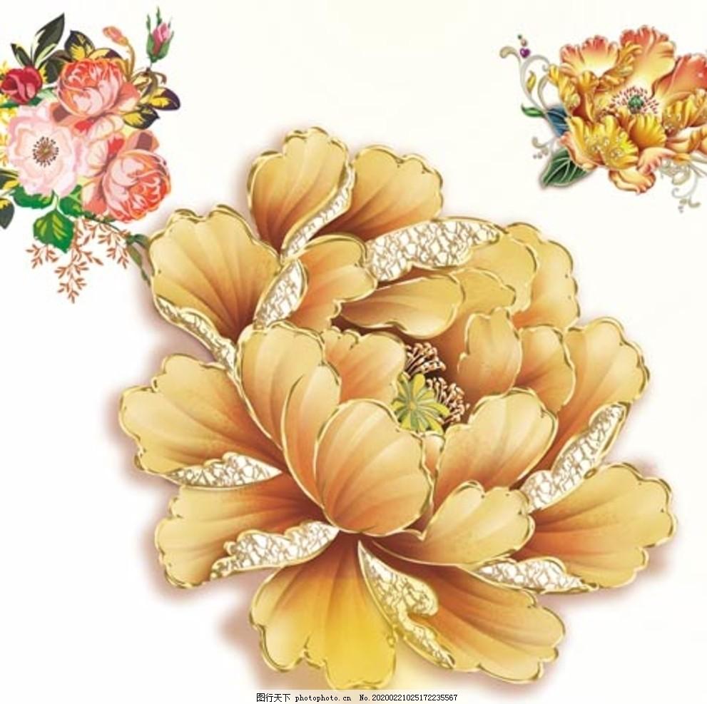 國畫牡丹花紅花金色花金色牡丹
