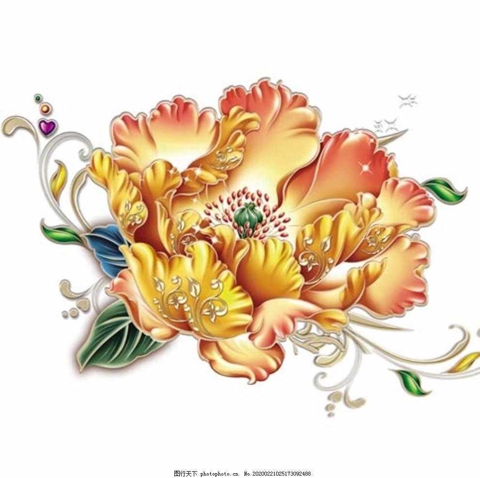 國畫牡丹花紅花金色花