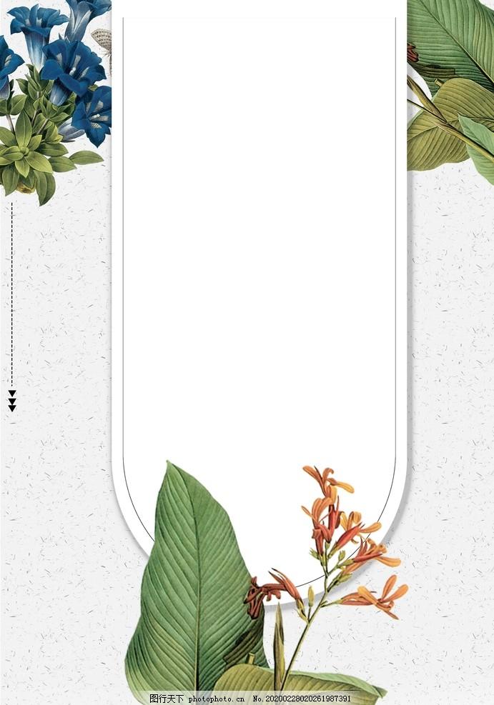 綠植文藝手繪設計背景