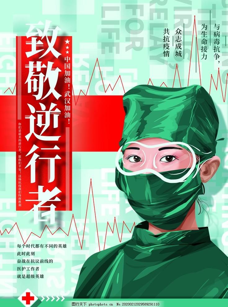 原创手绘致敬一线医护人员海报,医生,抗疫,插画,公益,宣传,设计