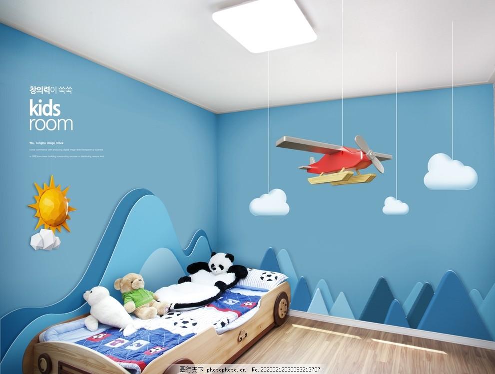 儿童卧室,木制汽车,造型床,简约时尚,家居海报,玩具,卡通玩具