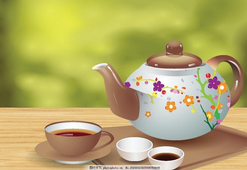 茶具,卡通茶具,线描,描边,线稿,可爱卡通,彩色